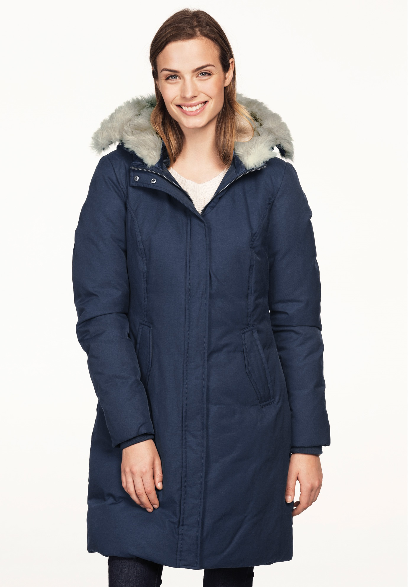 Long Hidden Snap Front Coat with Faux Fur Hood by ellos®, NAVY, hi-res