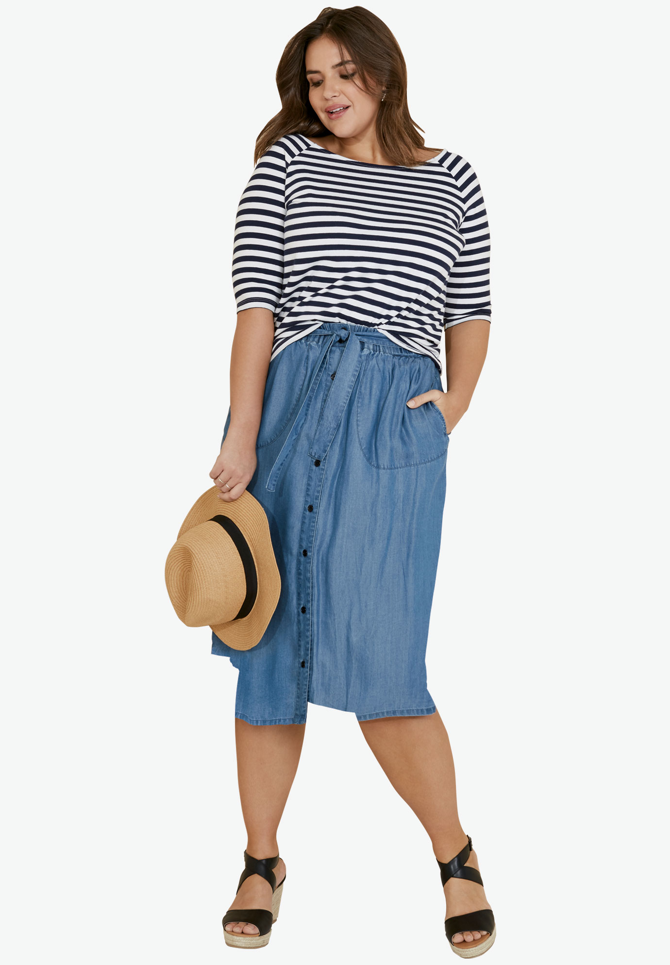 Off The Shoulder Tee by ellos®, NAVY/WHITE STRIPE, hi-res