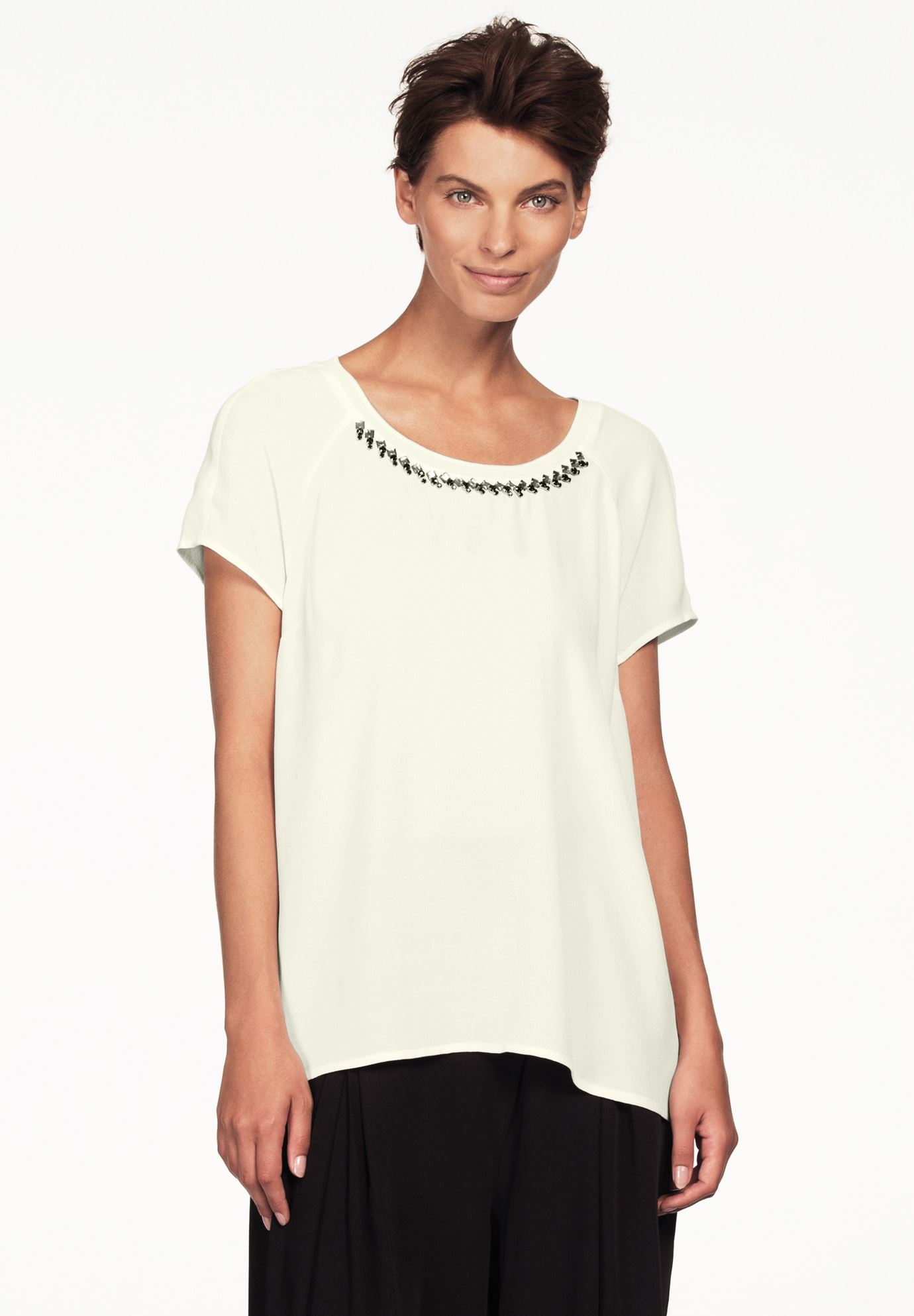 Jewel Embellished A-line Top by Ellos®, IVORY, hi-res