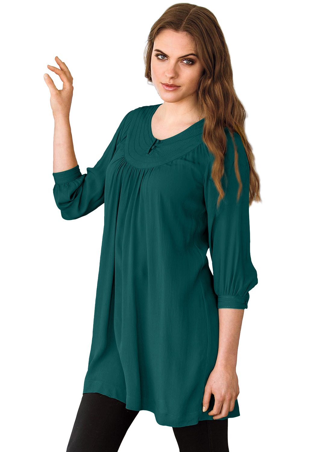 Stitch Neck 3/4 Sleeve Tunic by ellos®, EVERGREEN, hi-res