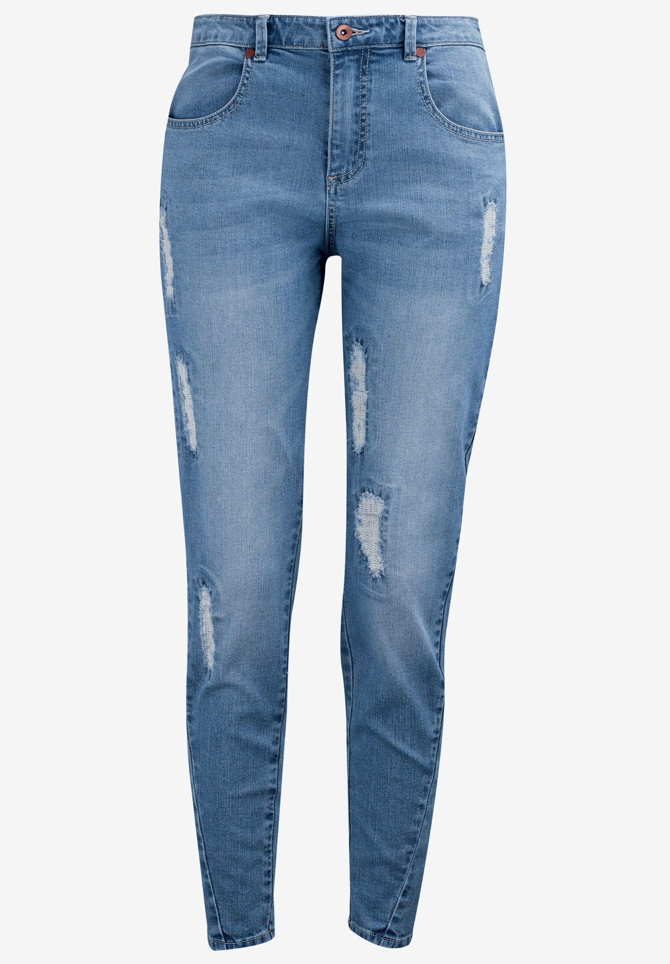 Distressed Girlfriend Jeans by Ellos®, DISTRESSED, hi-res