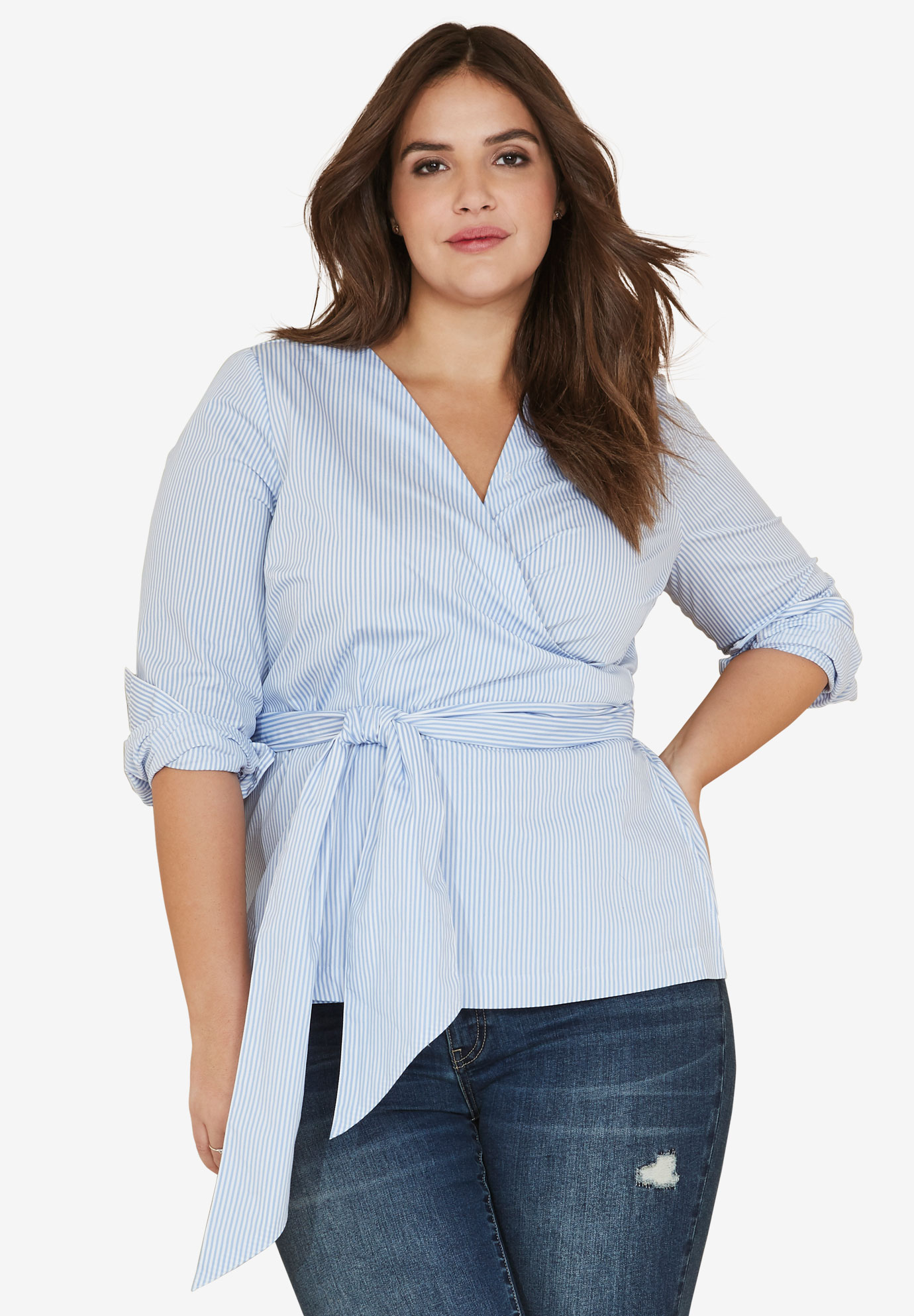 Self-Sash Wrap Blouse by ellos®, FRENCH BLUE STRIPE, hi-res
