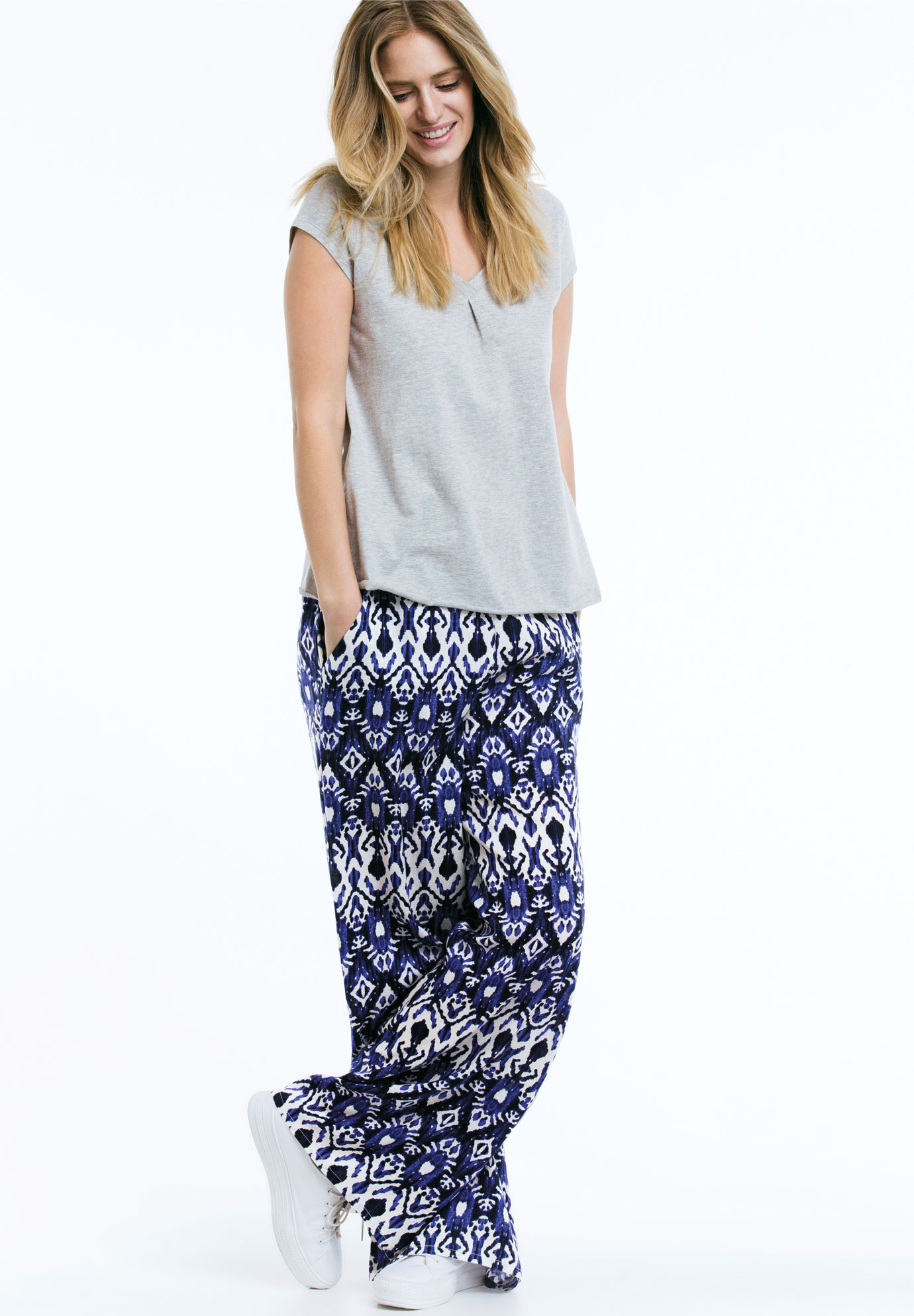 Wide Leg Soft Pants by Ellos®, BLUEBERRY BATIK PRINT, hi-res