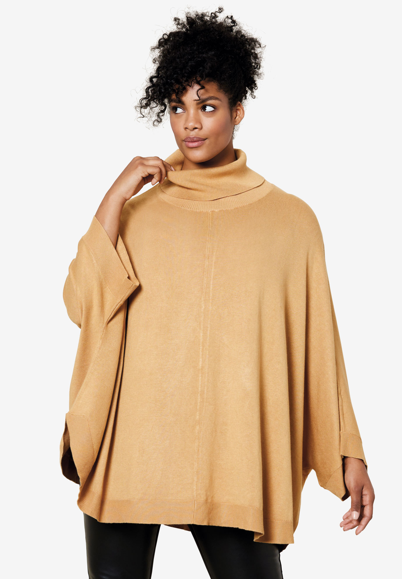 Turtleneck Poncho Sweater,