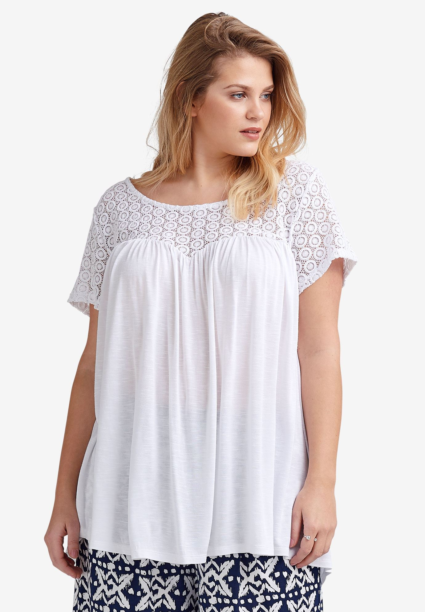 lace yoke teeellos®  plus size shirts  blouses