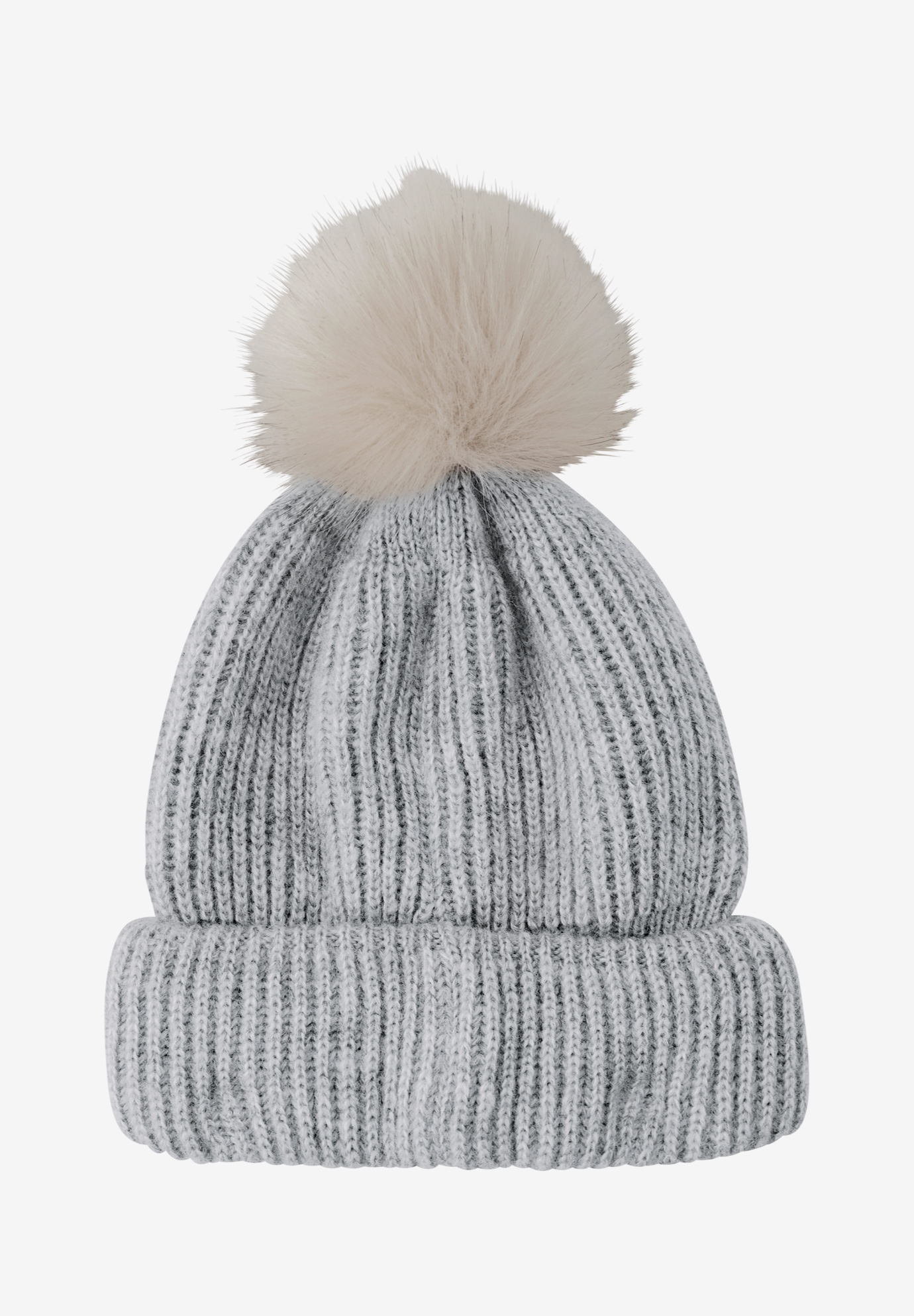 Rib Knit Pom-Pom Hat by ellos®, HEATHER GREY