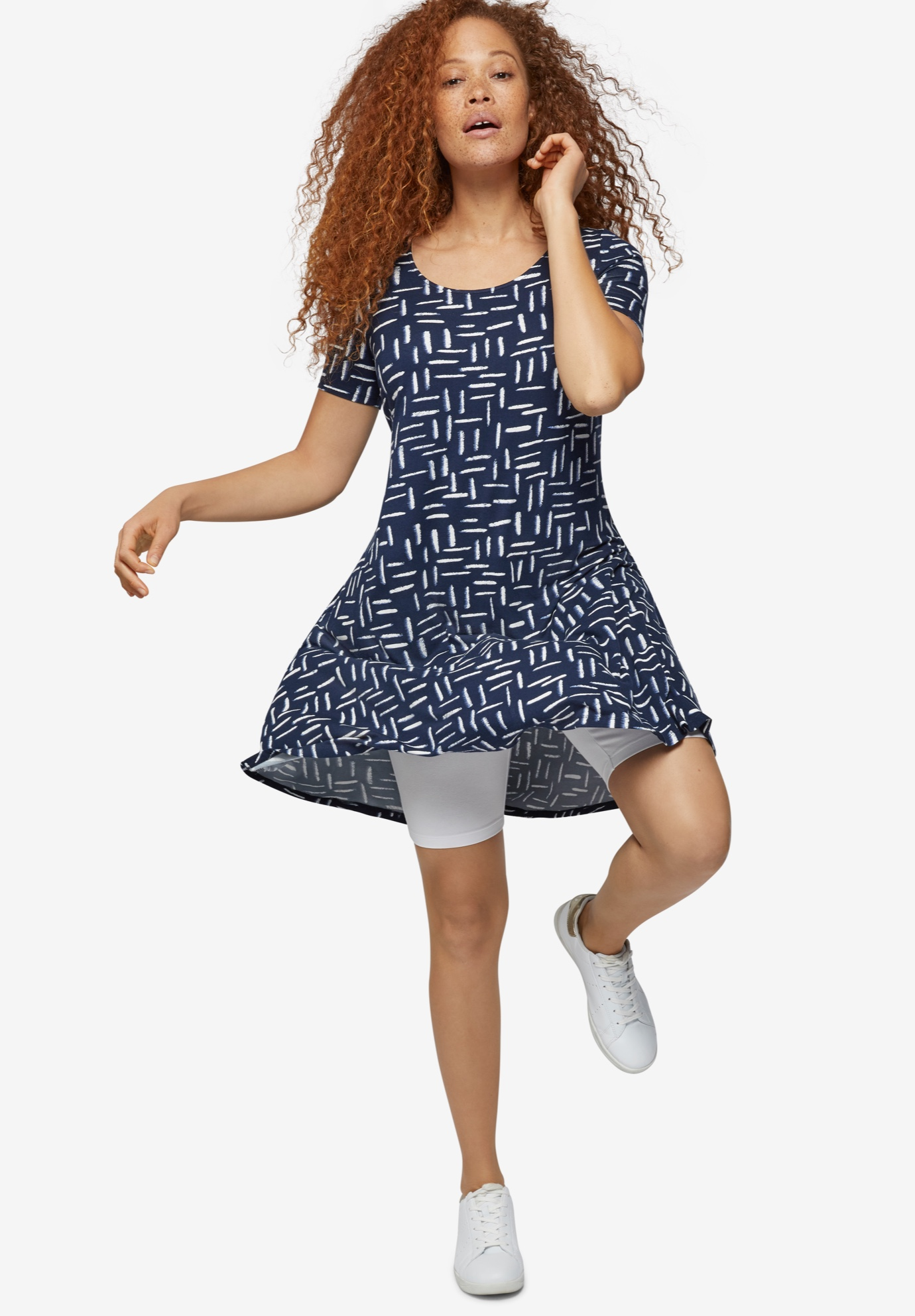 Short Sleeve A-Line Knit Dress by Ellos®, NAVY PRINT, hi-res