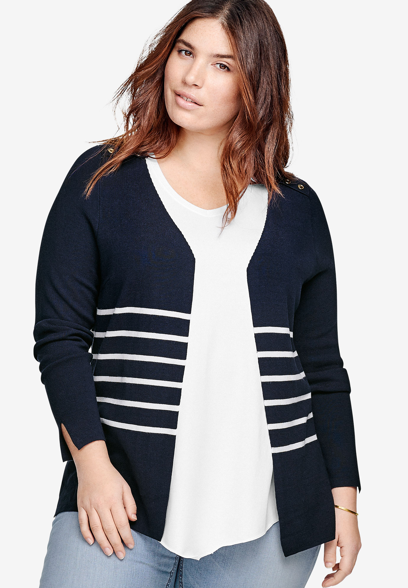 Striped Open Cardigan by ellos®, NAVY WHITE STRIPE, hi-res