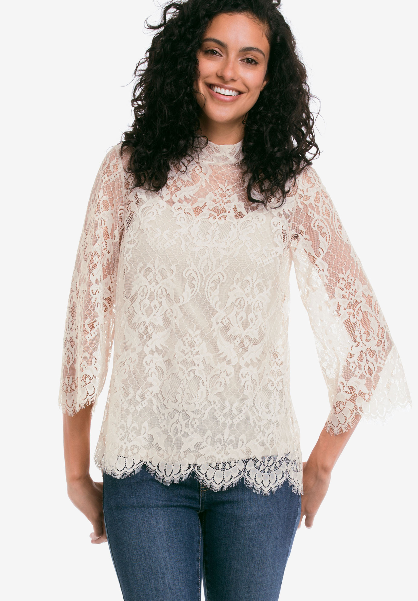 Lace Mock Neck Top by Ellos®, IVORY, hi-res