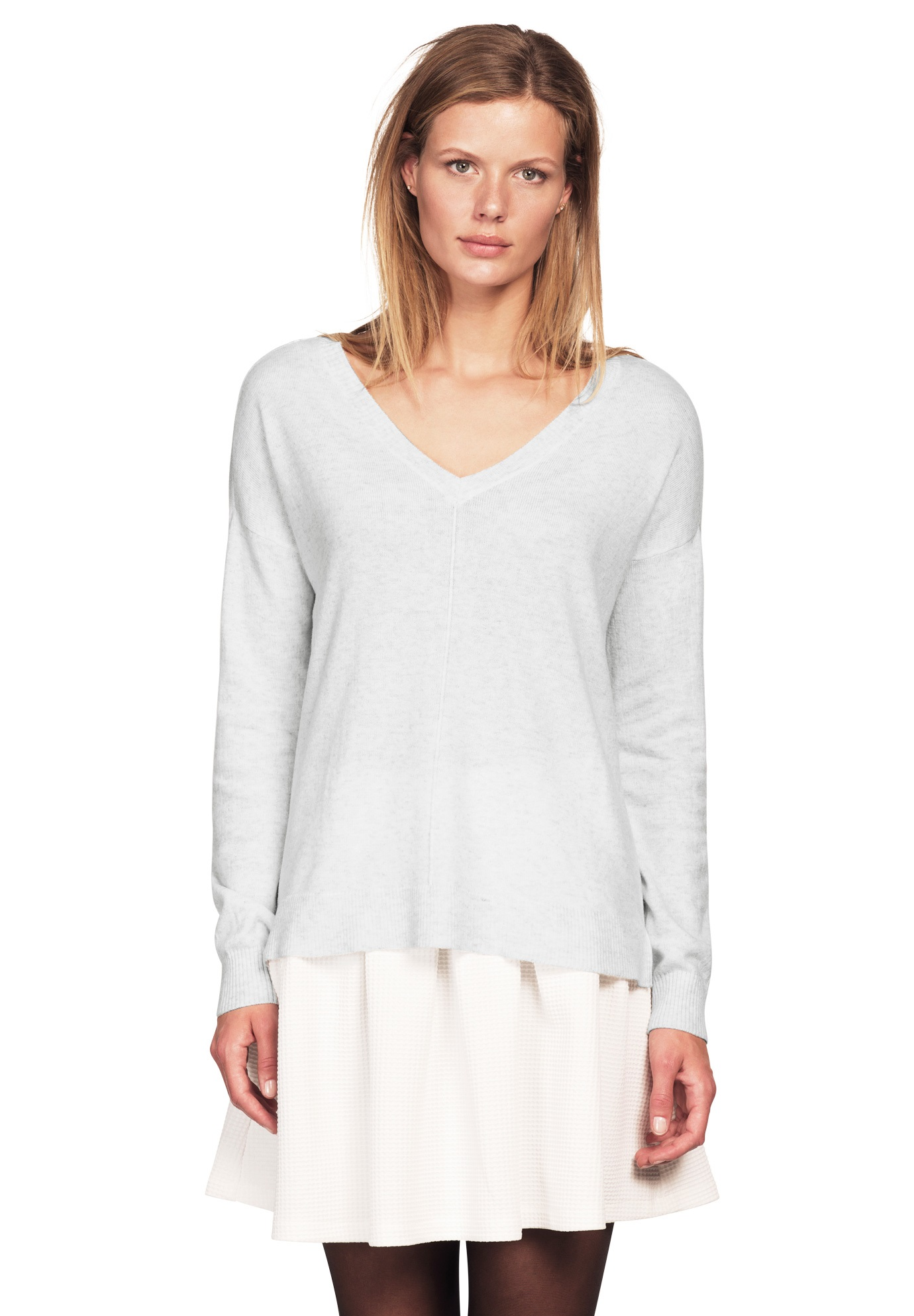 V-neck High/low Sweater by Ellos®, HEATHER GREY, hi-res