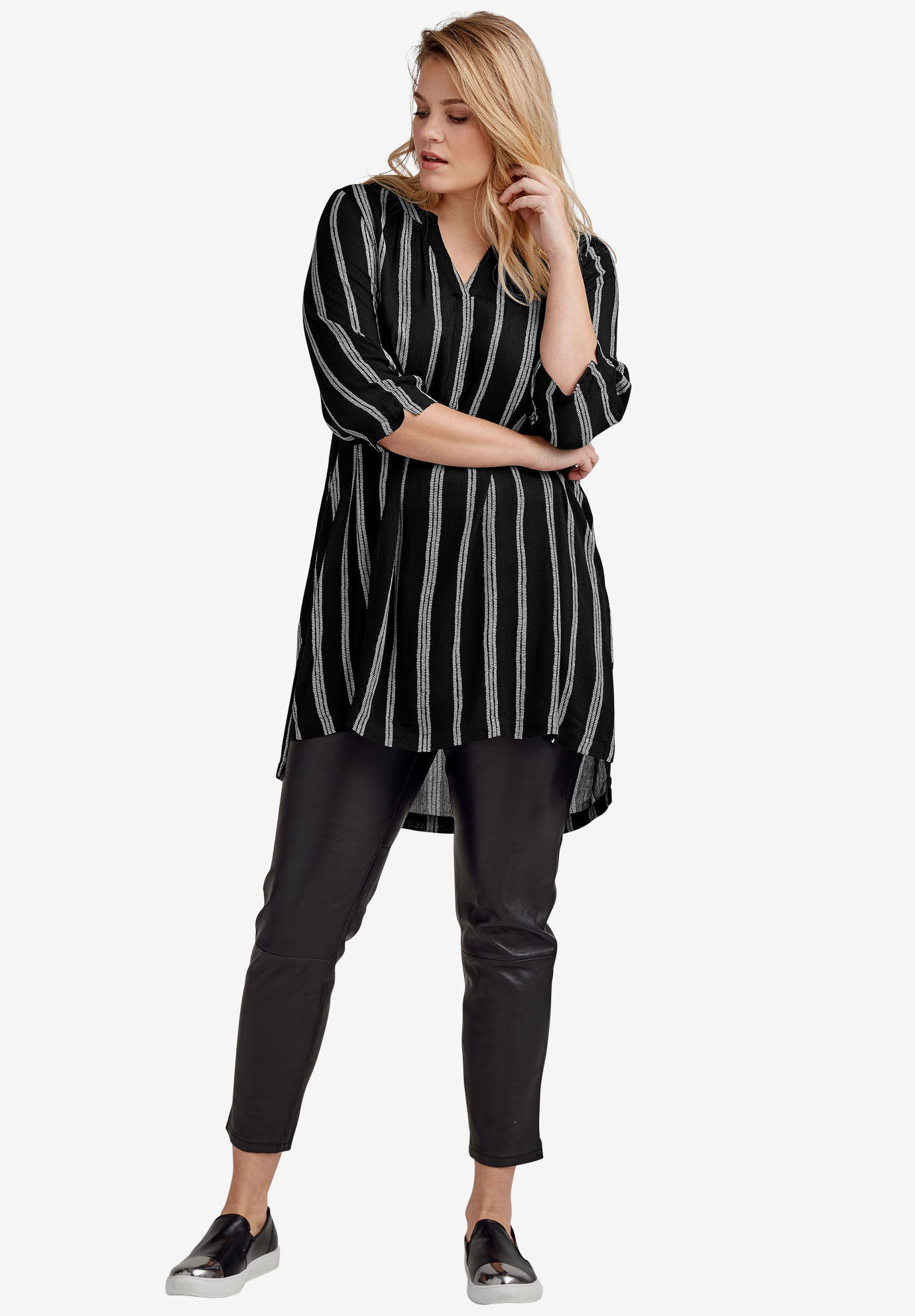 Notch Neck Crinkle Tunic by ellos®,