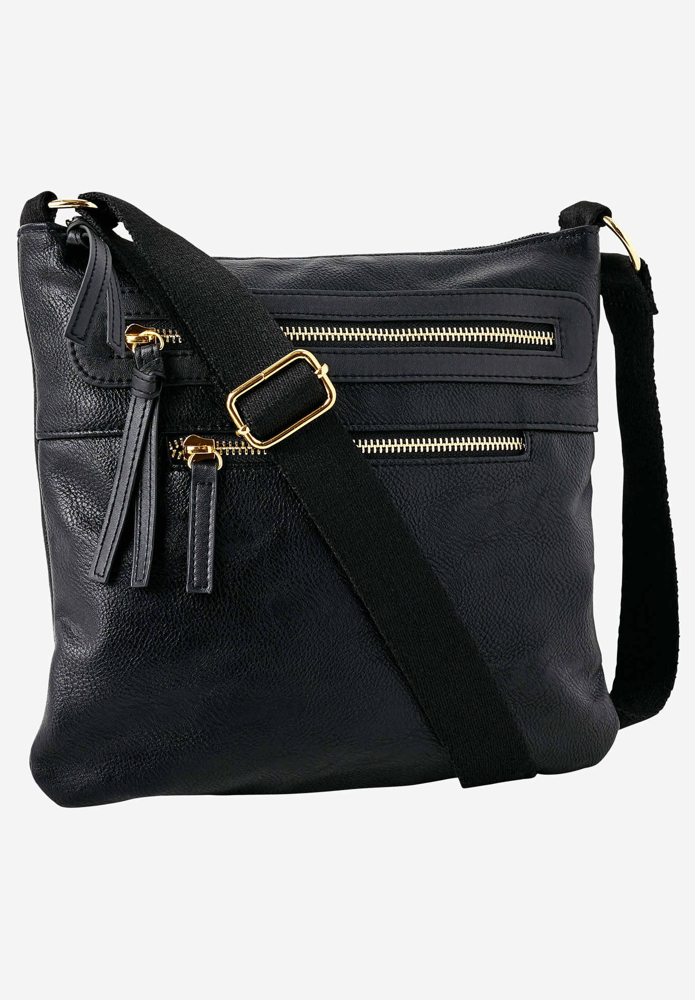 Multi-Zip Crossbody Bag by ellos®, BLACK