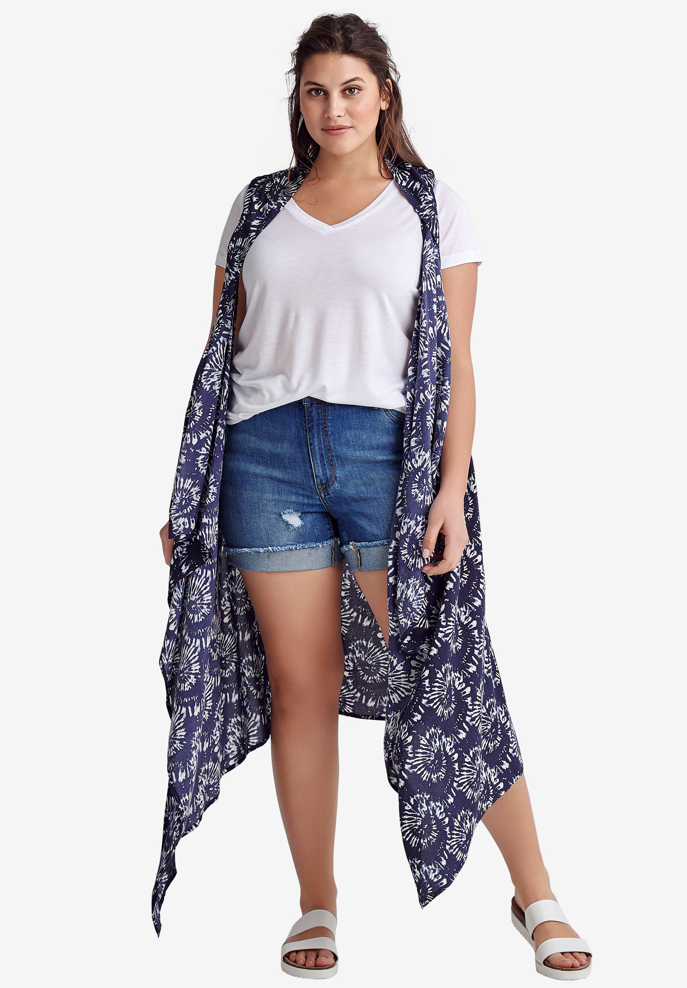 Printed Open Front Duster Vest by ellos®, NAVY TIE DYE PRINT
