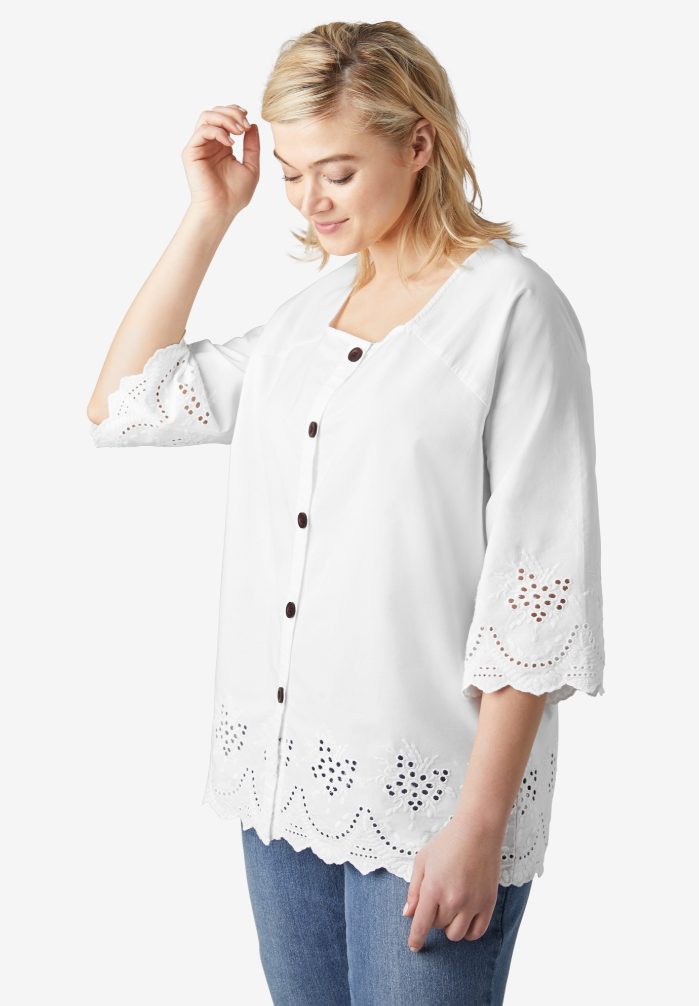 Button-Front Eyelet Tunic,