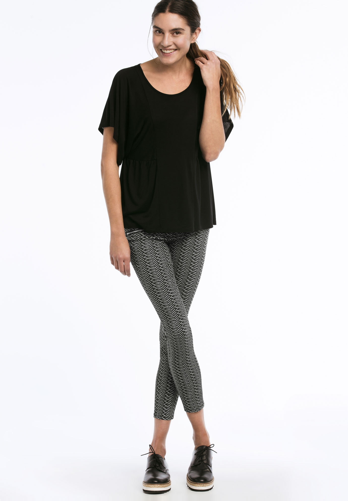 Zip Pocket Twill Jeggings, BLACK WHITE PRINT, hi-res