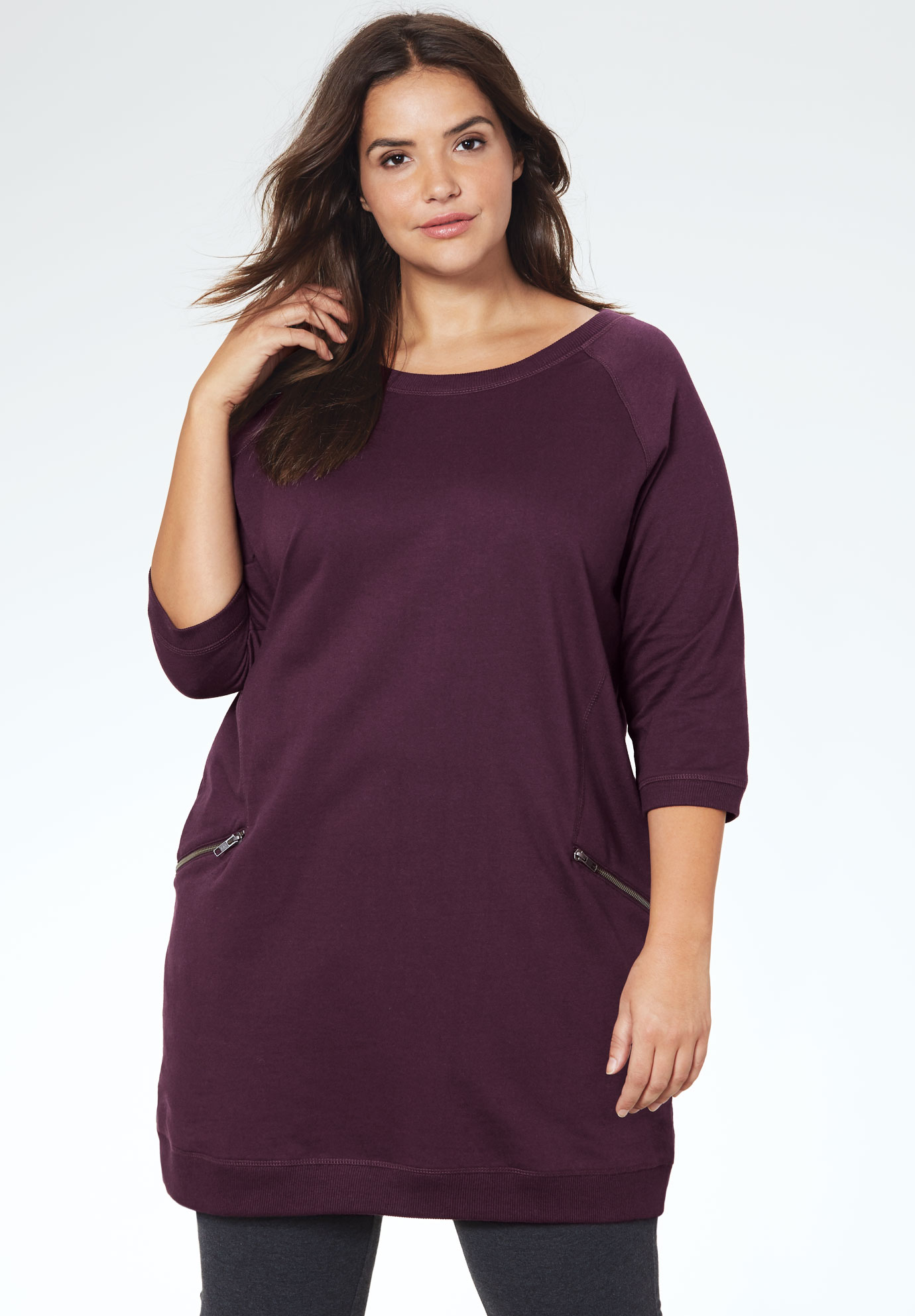 French Terry Zip Pocket Tunic,