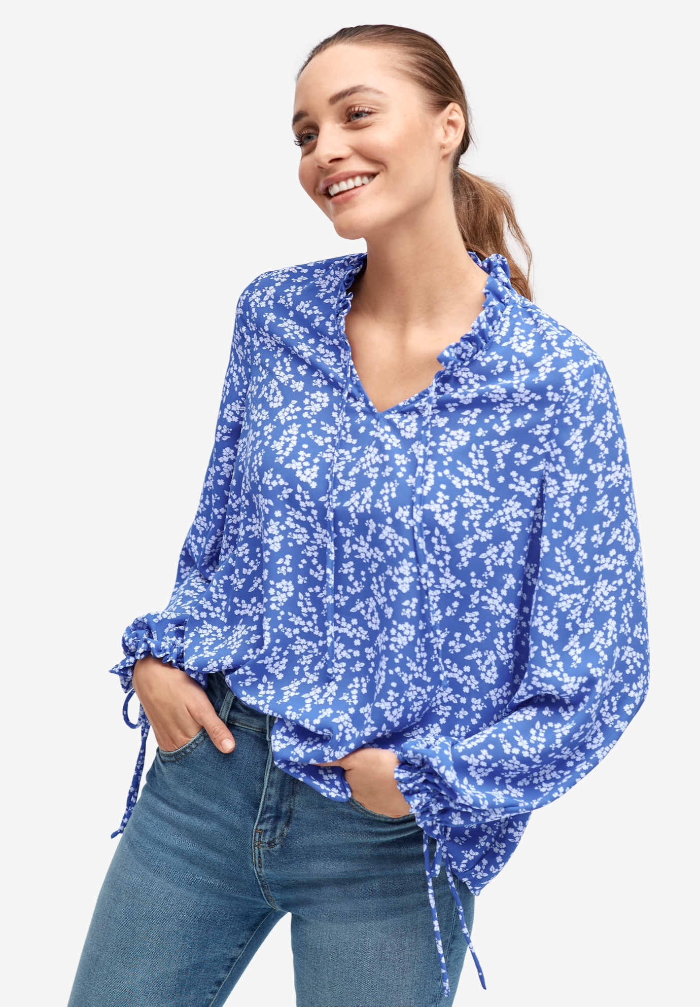Ruffle Trim Blouse,