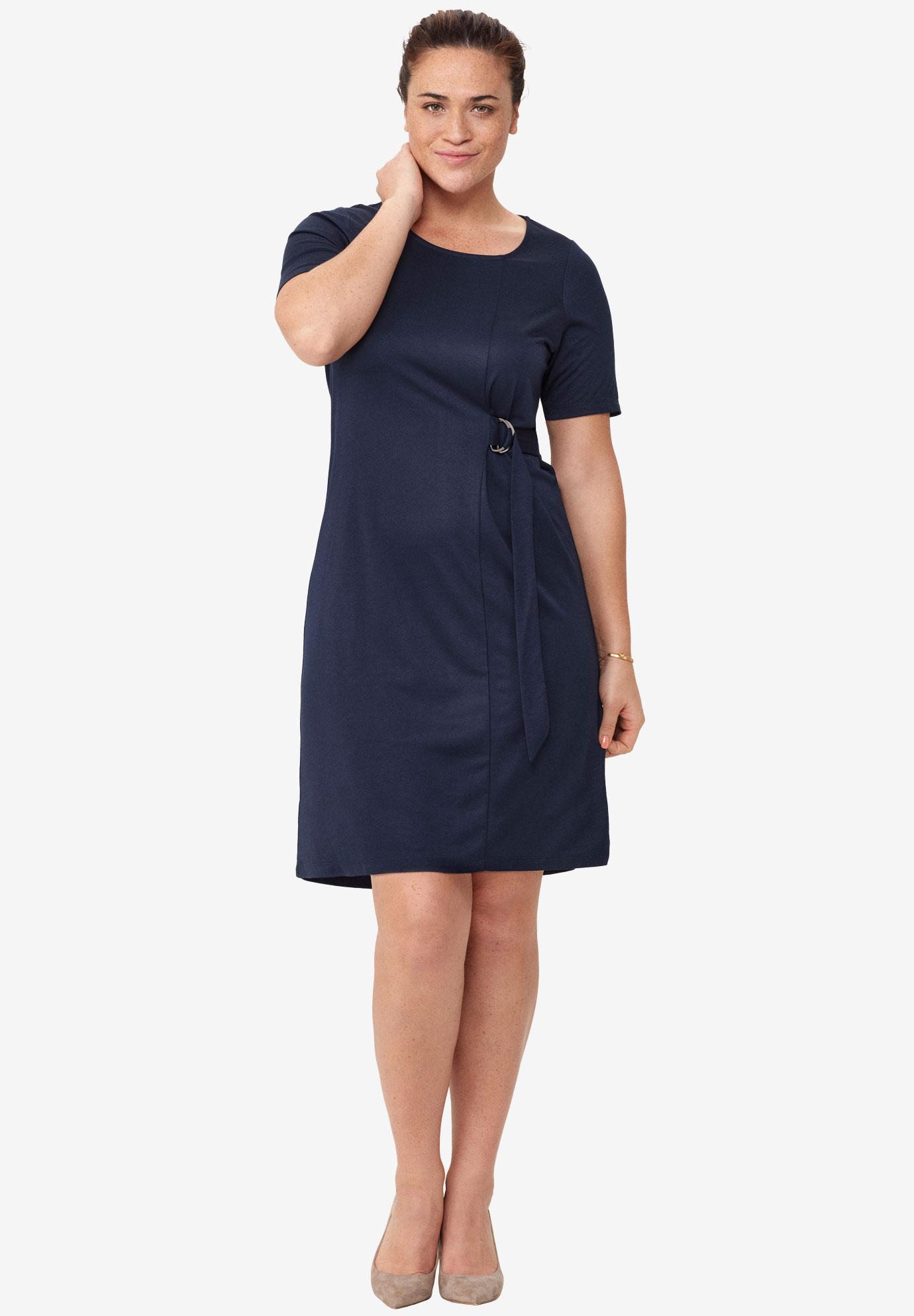 Side Belt Knit Dress by ellos®, NAVY, hi-res