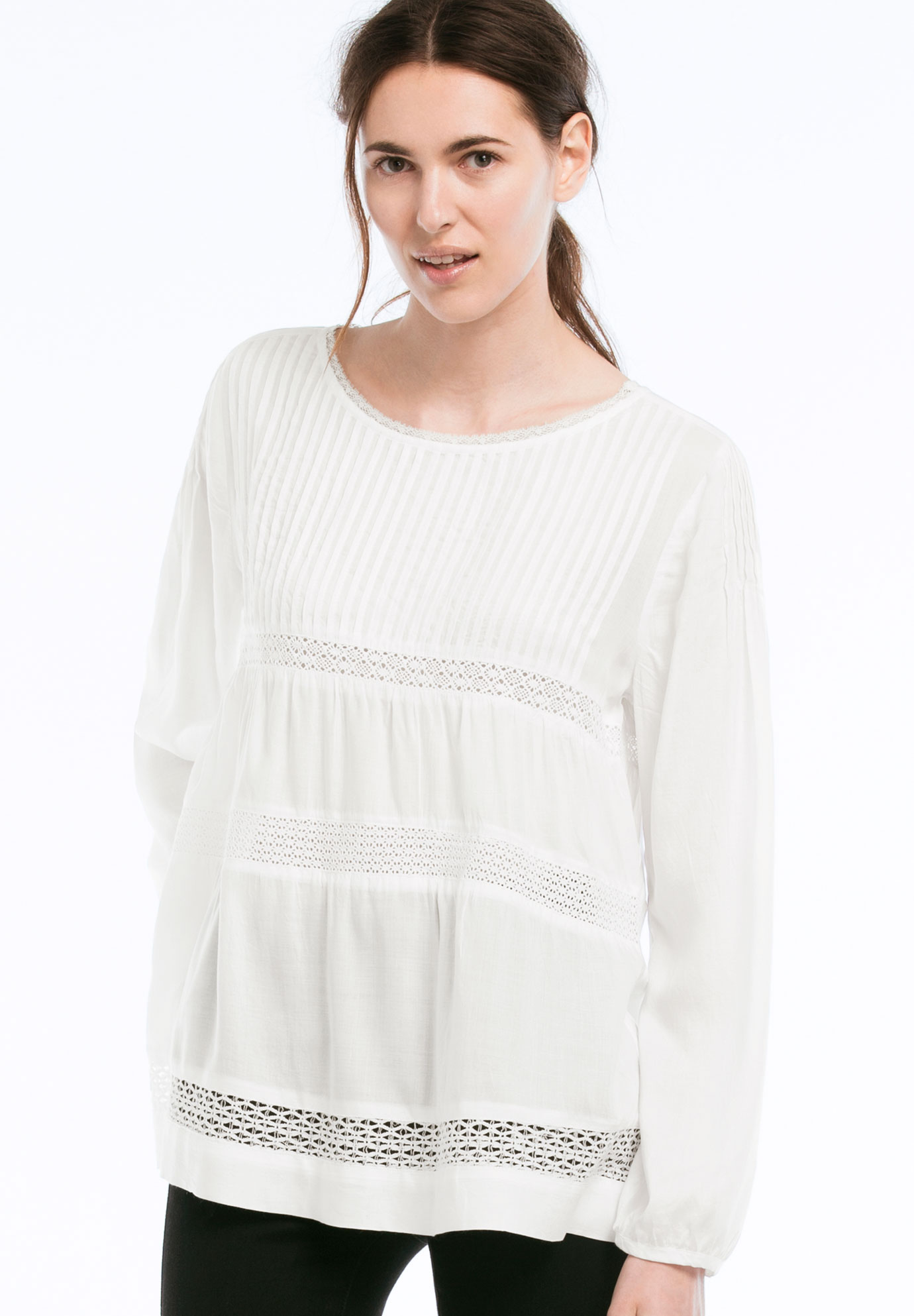 Pintucked Tiered Woven Tunic by Ellos®, WHITE, hi-res