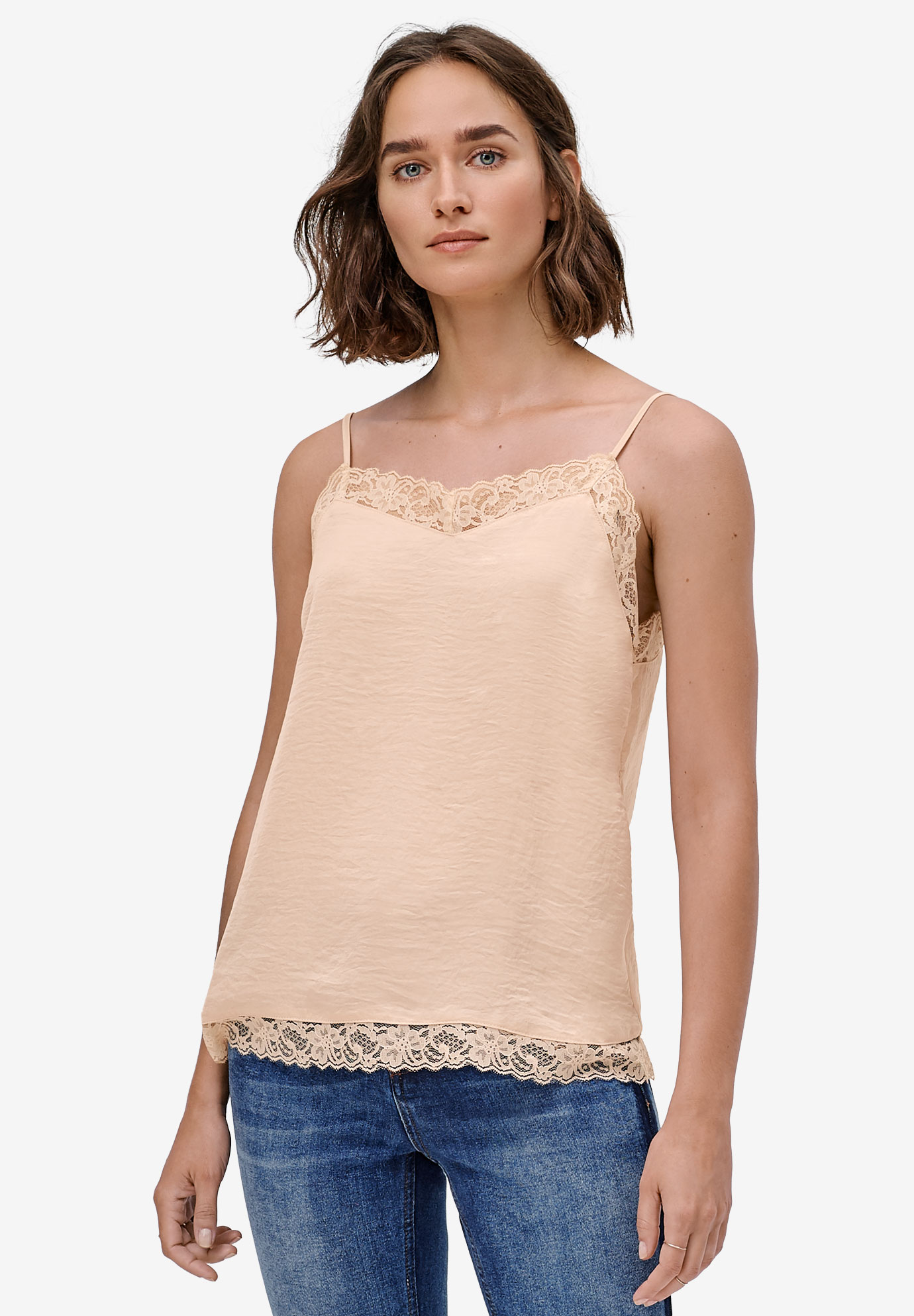 Lace-Trim Satin Cami by ellos®,