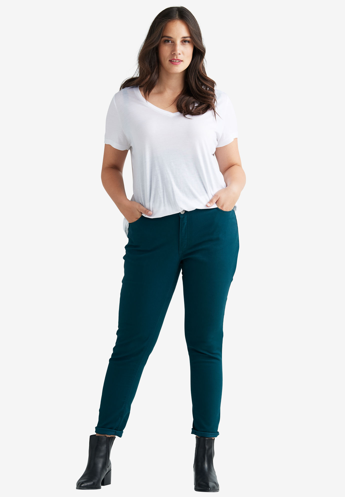 Straight Leg Twill Pants by Ellos®, MIDNIGHT TEAL, hi-res