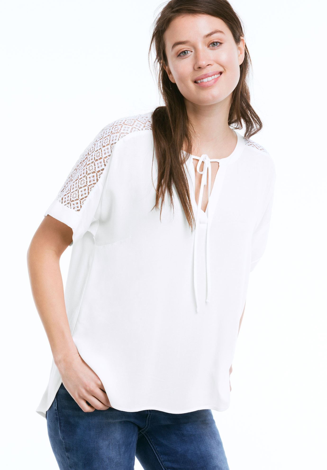 Lace Trim Blouse by ellos®, WHITE, hi-res