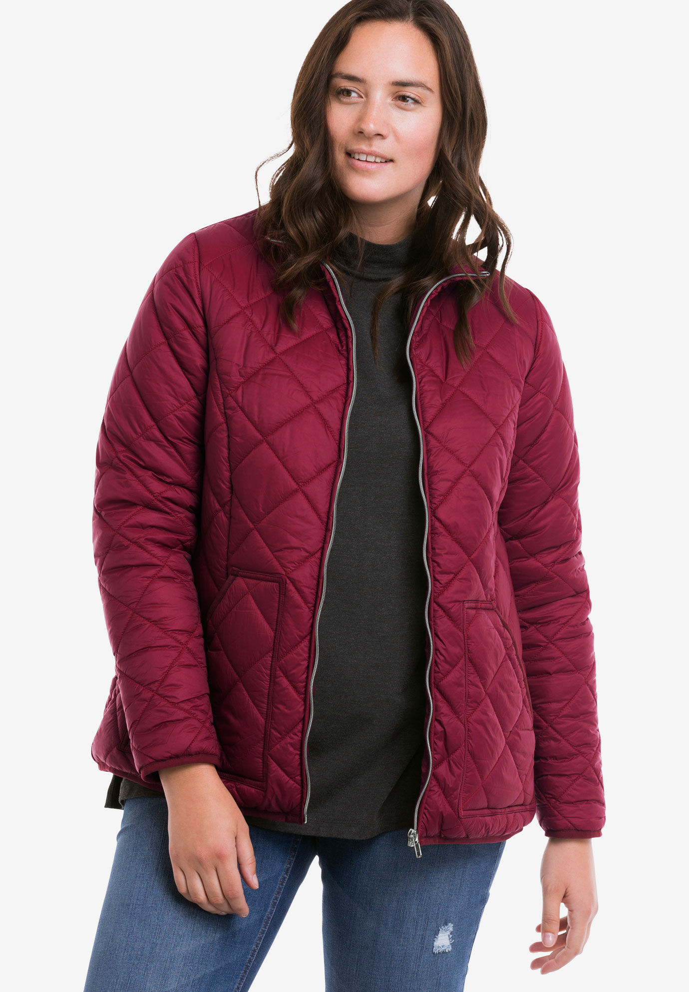 Quilted Zip Front Jacket by Ellos®, RICH BURGUNDY, hi-res