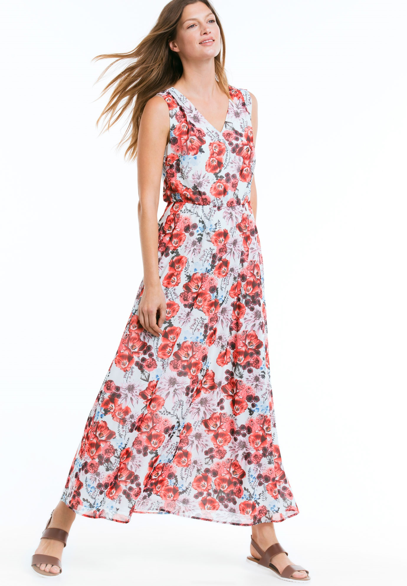 Sleeveless Printed Maxi Dress by Ellos®, NECTARINE FLORAL, hi-res