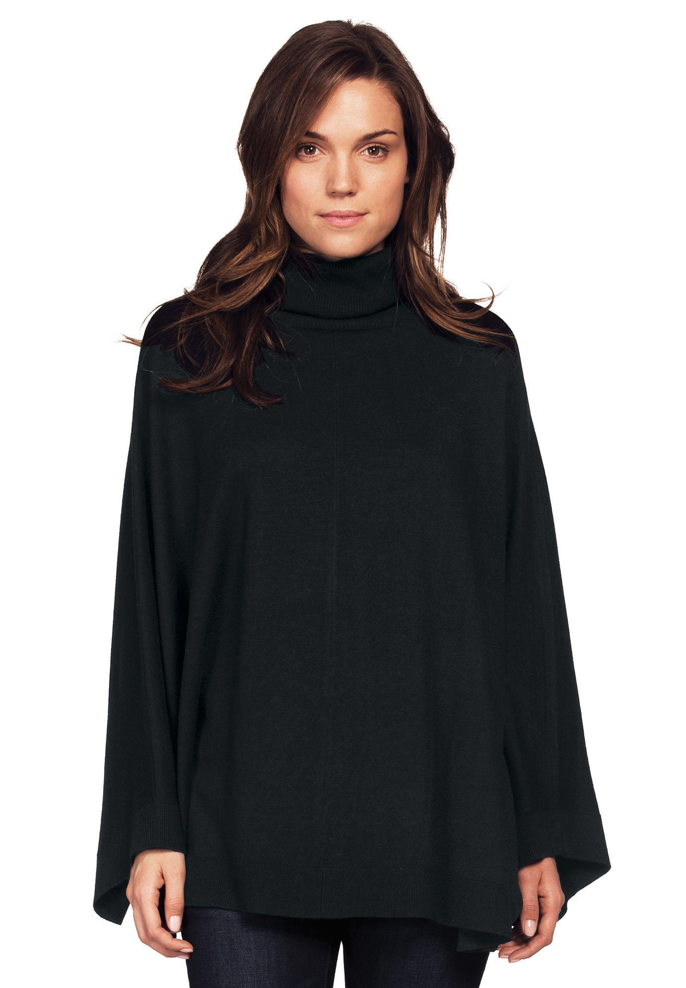 Turtleneck Poncho Sweater by Ellos®, BLACK, hi-res