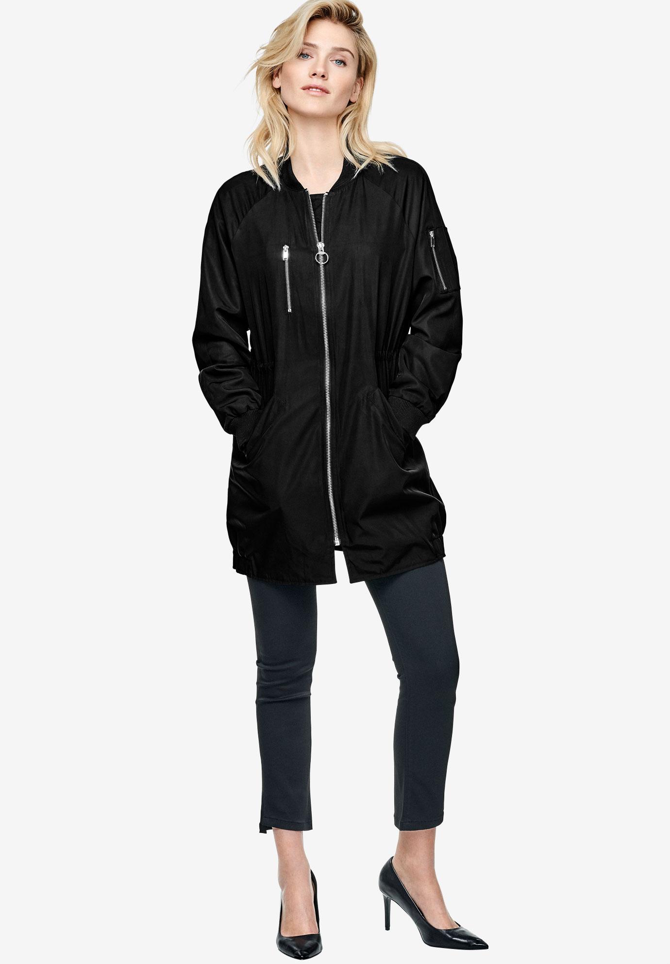 Long Bomber Jacket by ellos®| Plus Size Coats & Jackets ...