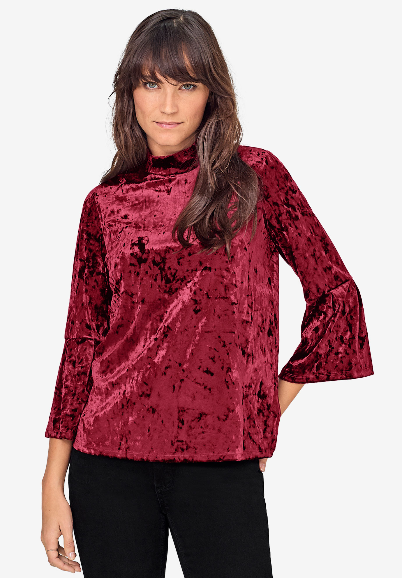 Bell-Sleeve Velour Tee by ellos®,