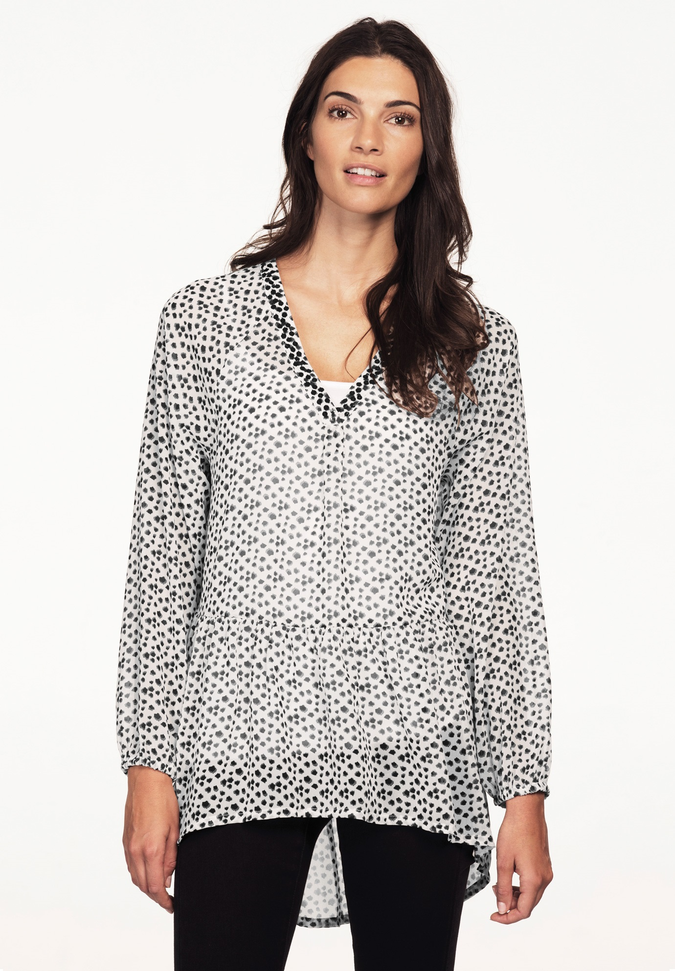Sequin Trim Tiered Tunic by Ellos®, WHITE BLACK PRINT, hi-res