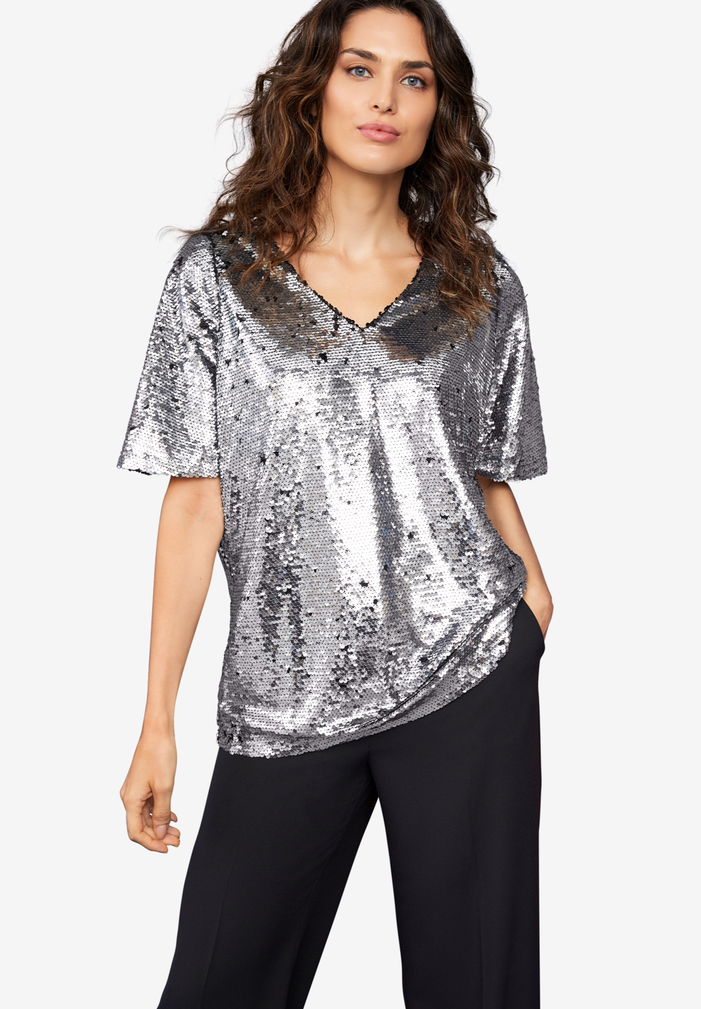Bell Sleeve Sequin Tee,