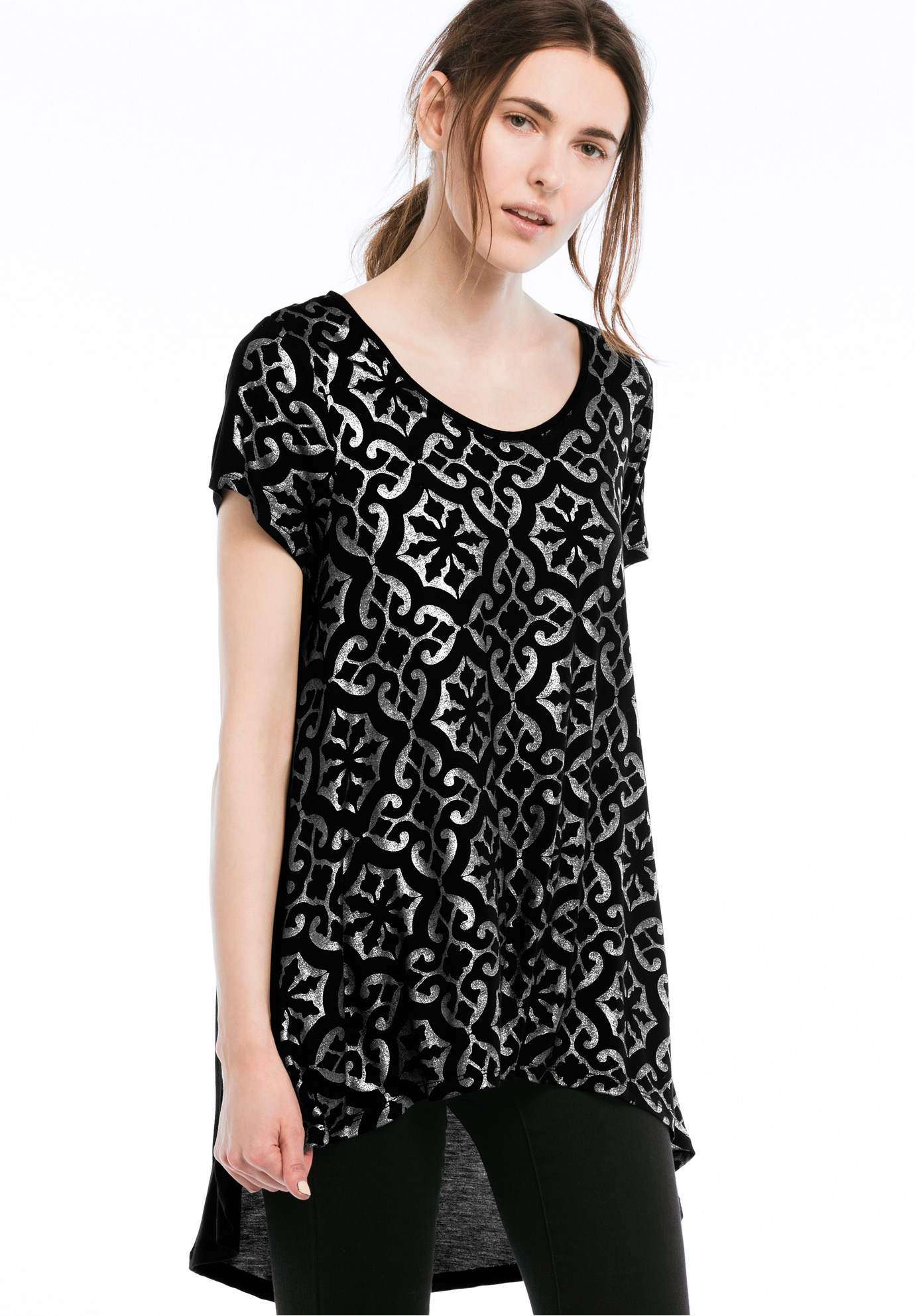 High/low Cap Sleeve Tunic by Ellos®, BLACK SILVER FOIL, hi-res