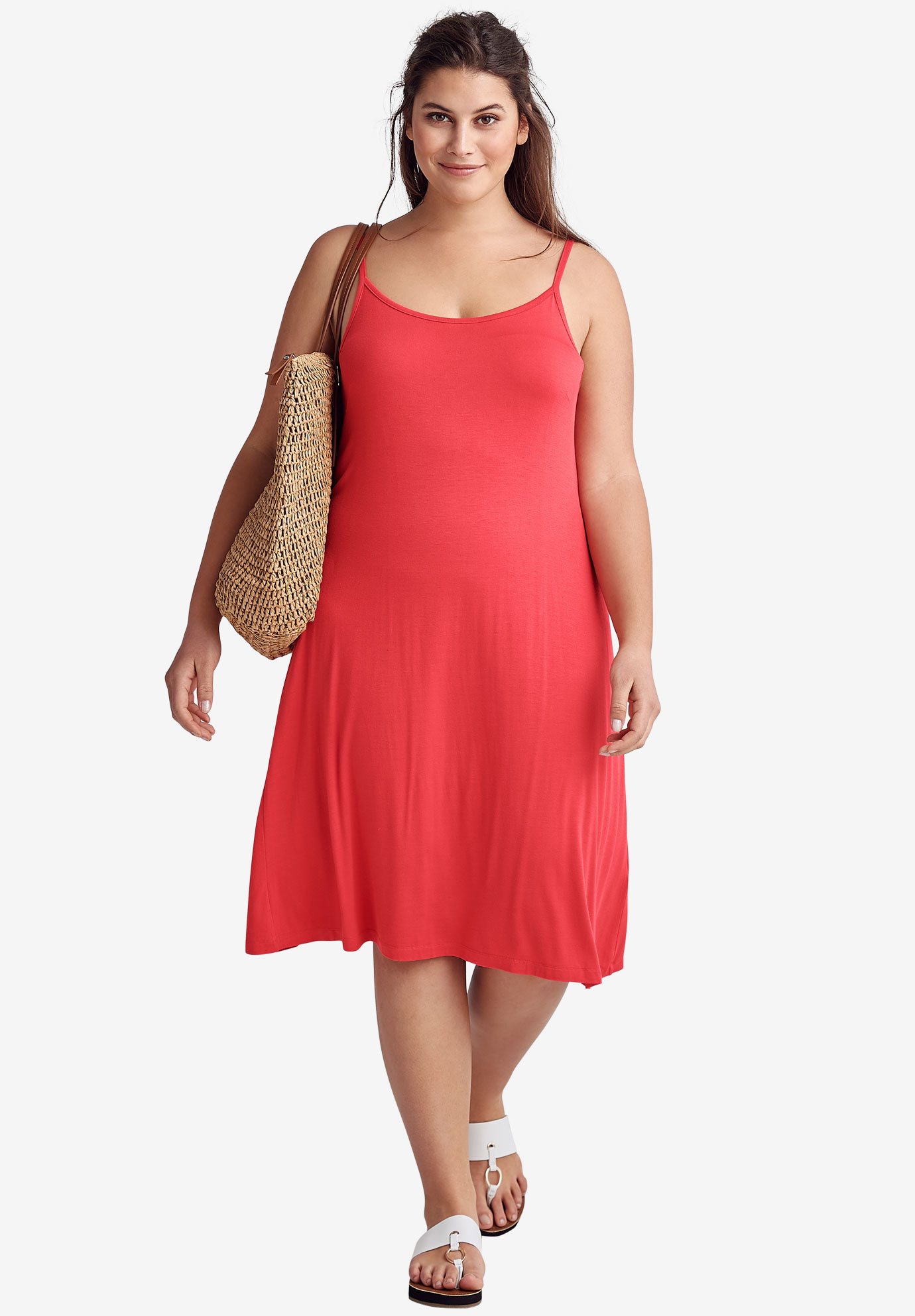 Tank A-line Dress by ellos®, CORAL RED, hi-res