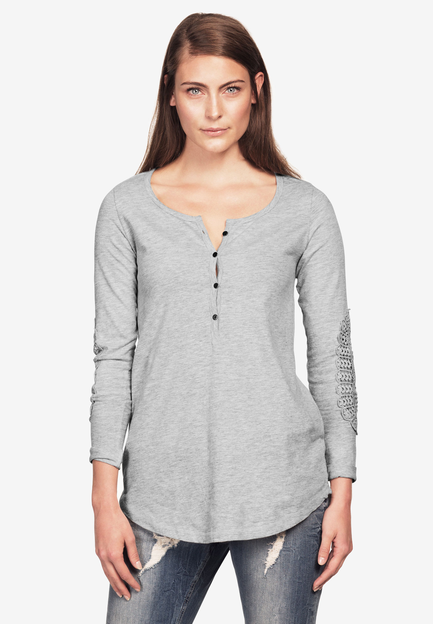 Crochet Trim Sleeve Henley by Ellos®, HEATHER GREY, hi-res