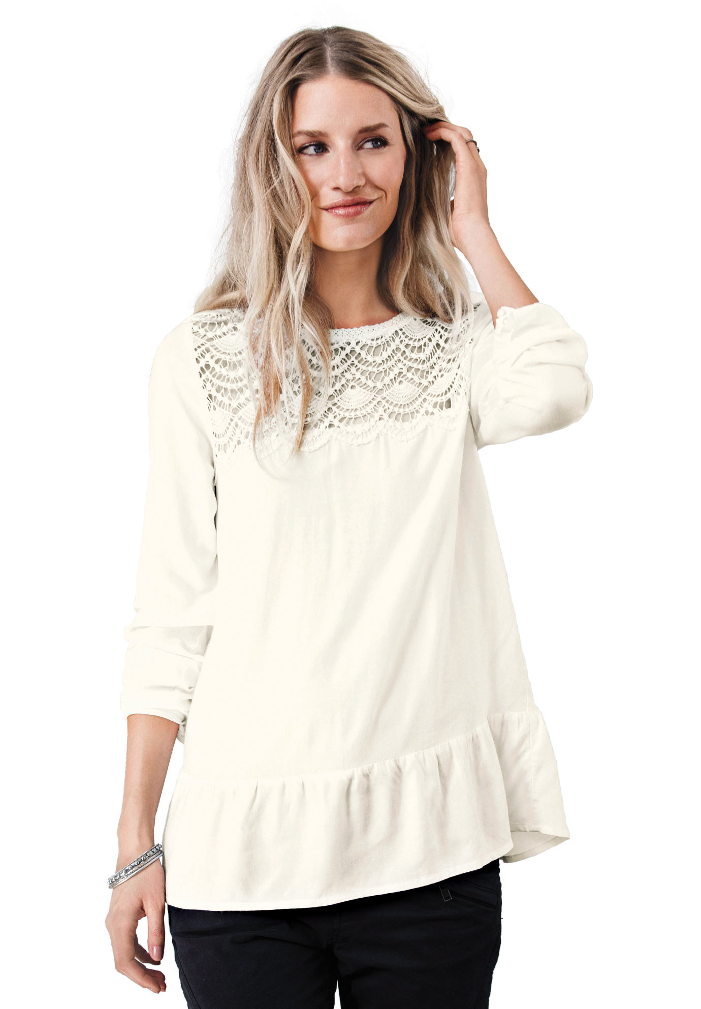 Crochet Yoke Blouse by ellos®,