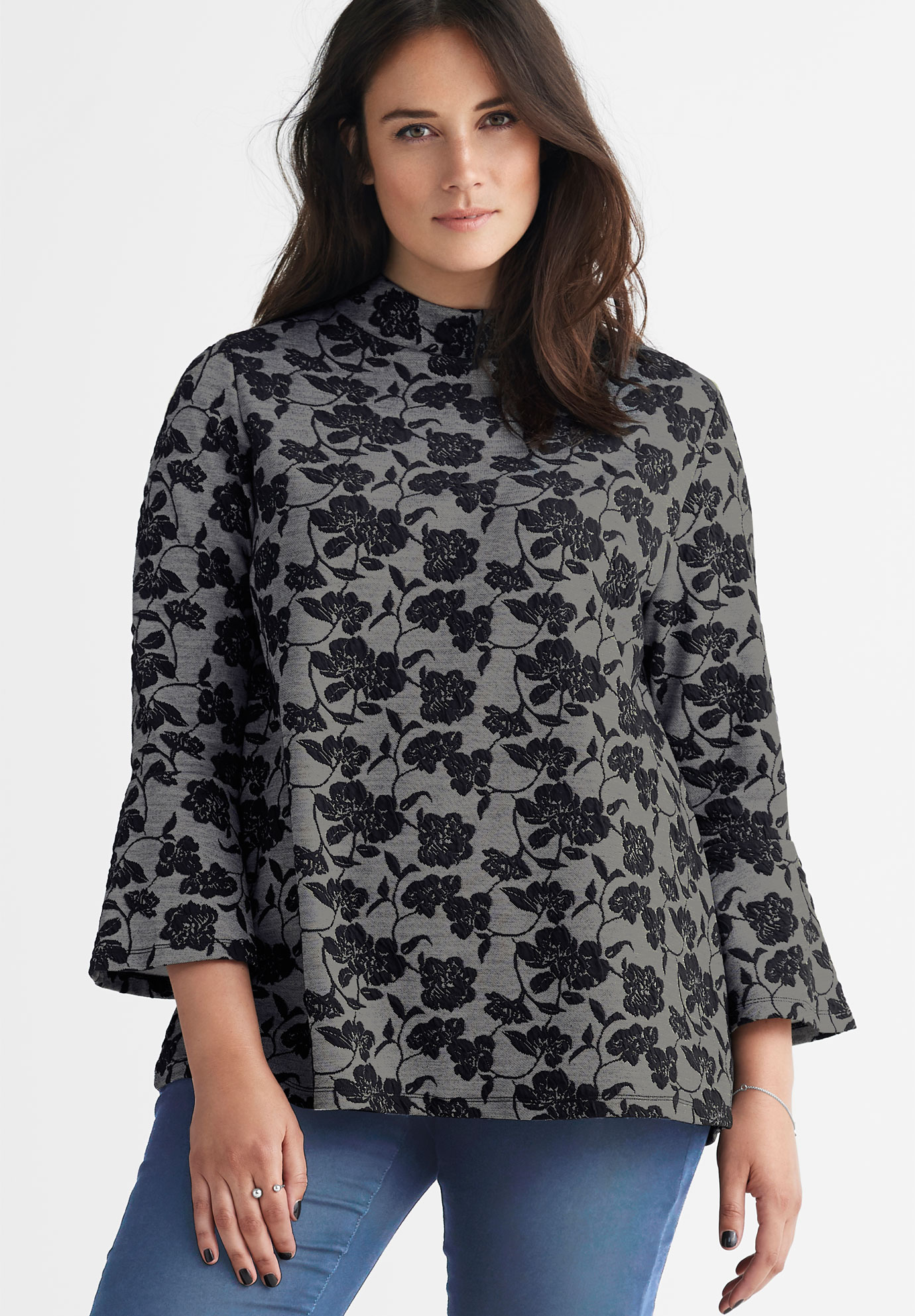 Mock Neck Jacquard Top by ellos®,