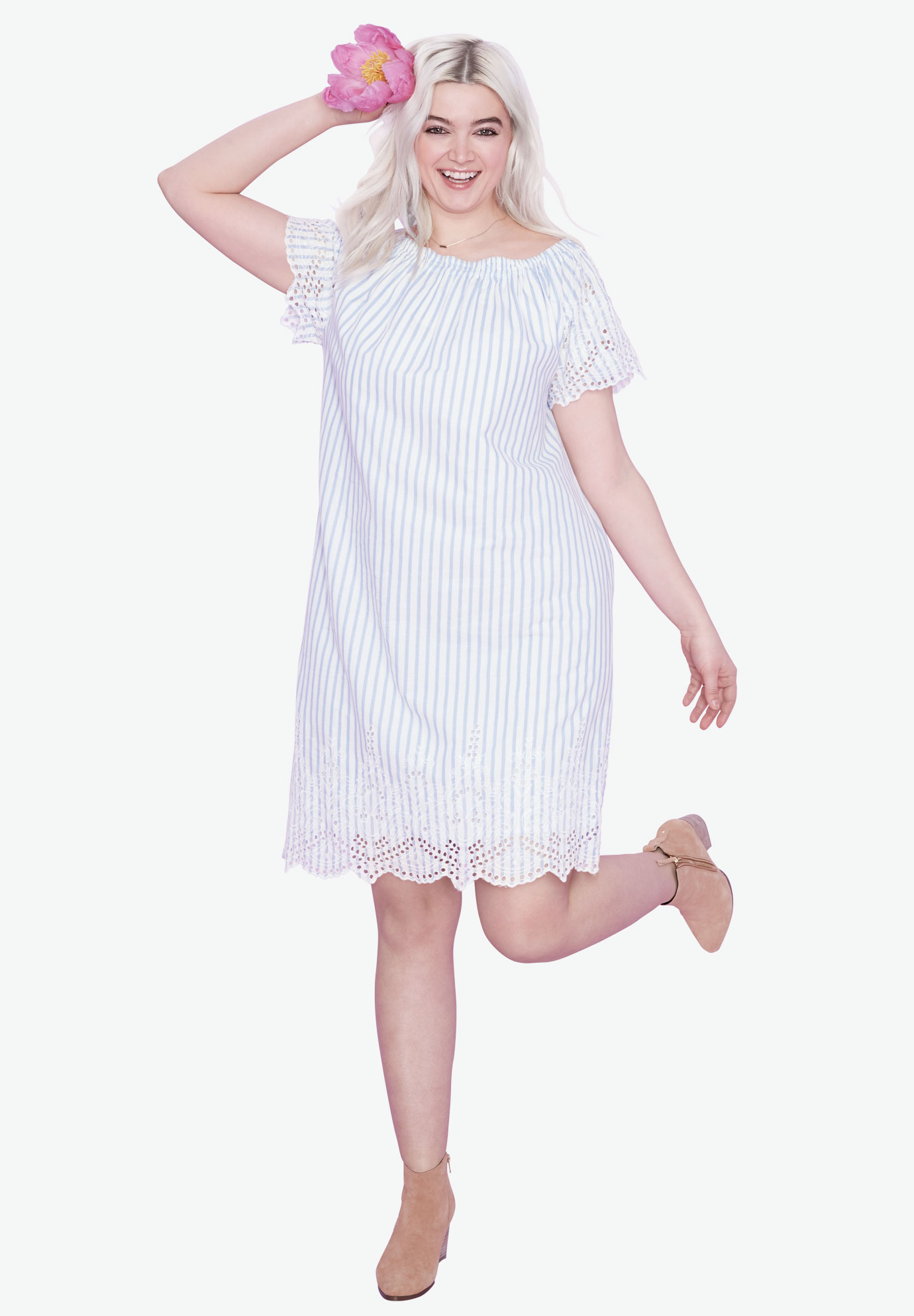Scalloped Eyelet Hem Dress,