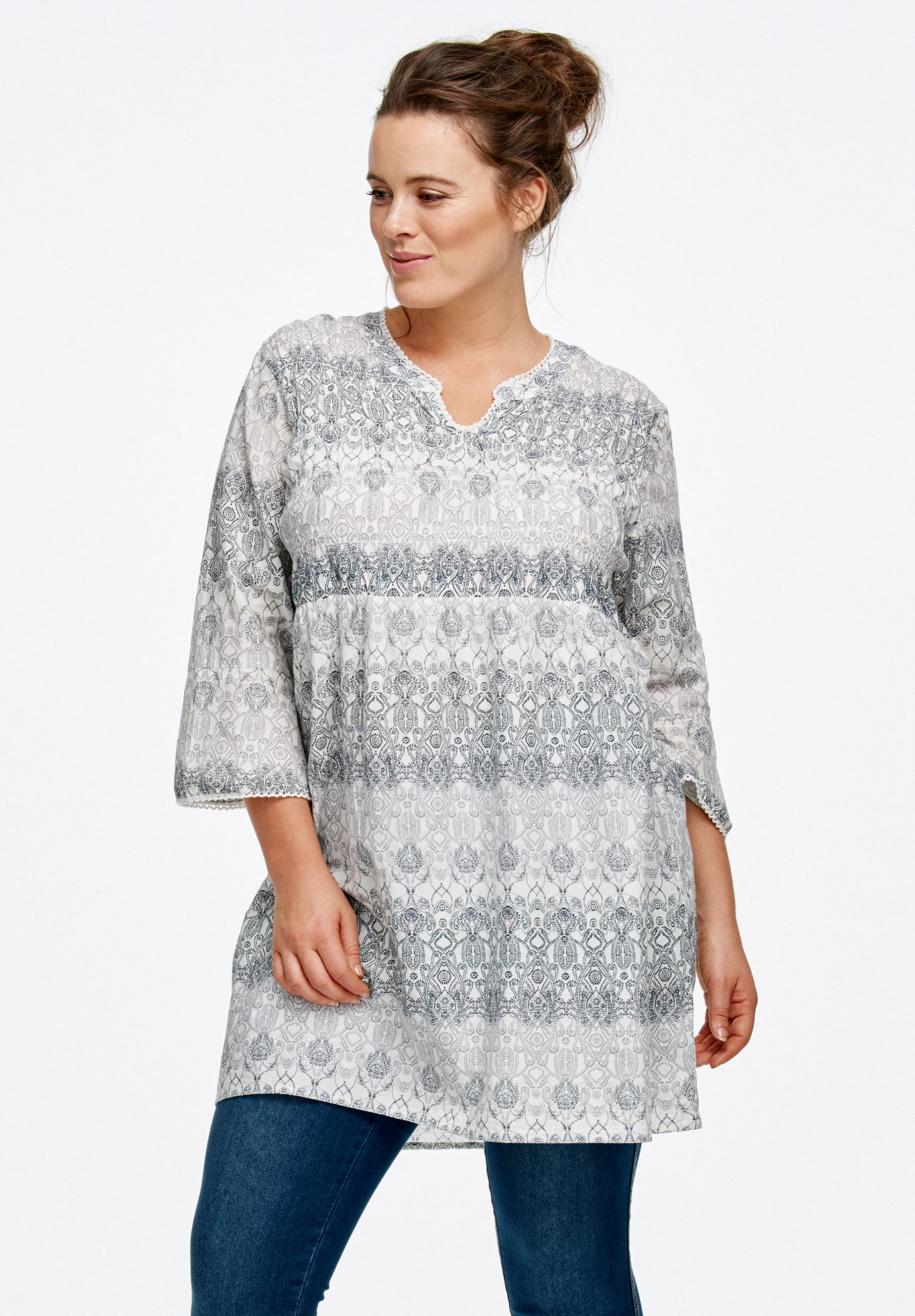 smocked empire waist tunicellos® plus size tunics