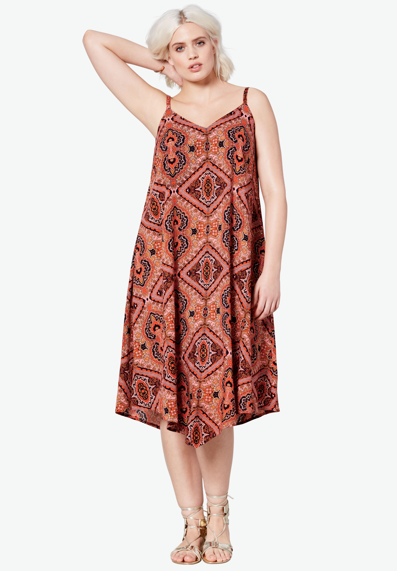 Bali Hanky Hem Dress by Ellos®, HOT CORAL MULTI PRINT, hi-res