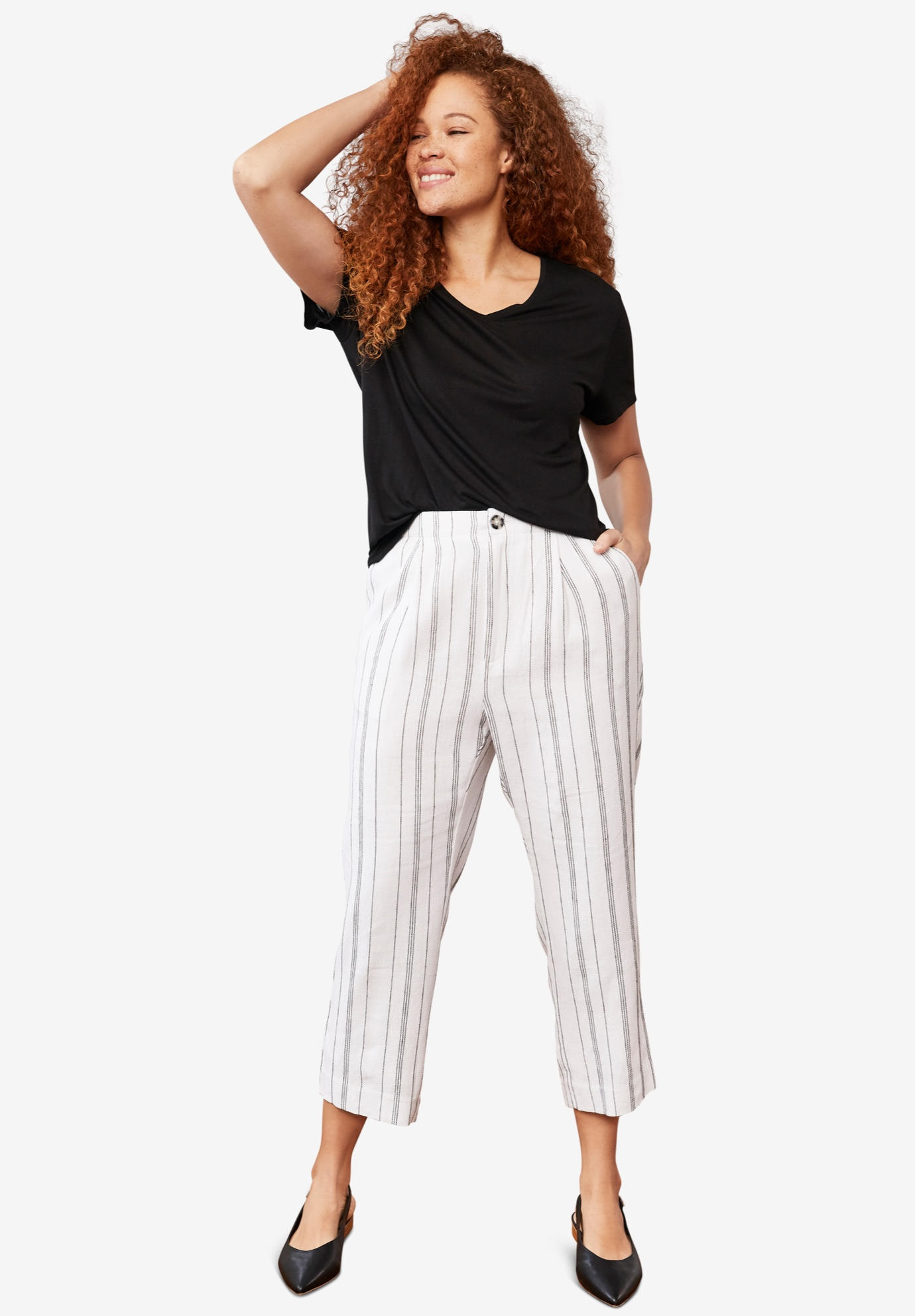 Straight Leg Cropped Linen Trousers by ellos®,