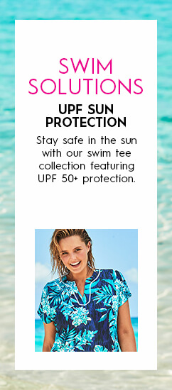 Swim Solutions: UPF Sun Protection. Stay safe in the sun with our swim tee collection featuring UPF 50+ protection